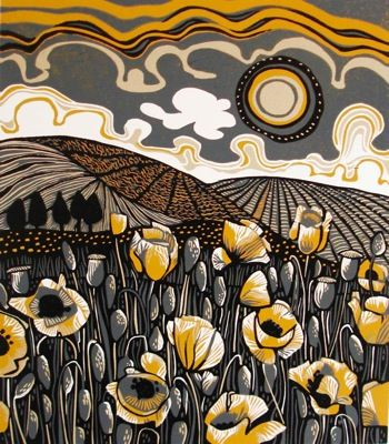 "Jane Walker ""Poppy Field"" Linocut.  Love the colors."