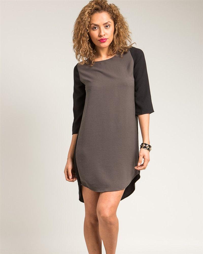 Olive Color Block Hi-Lo Shirt Dress