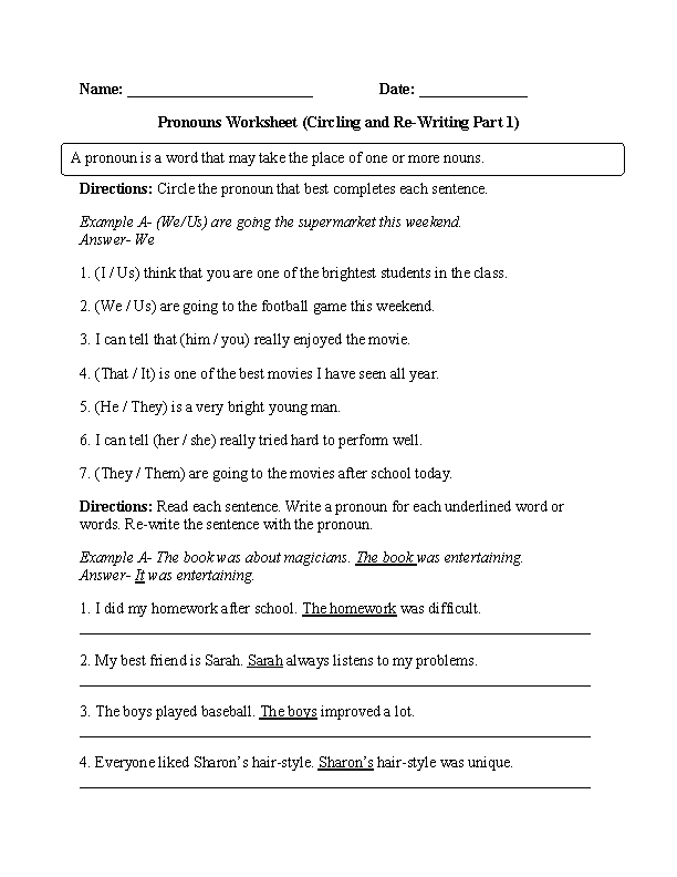 Circling and Re-Writing Pronouns Worksheet | Pronoun ...