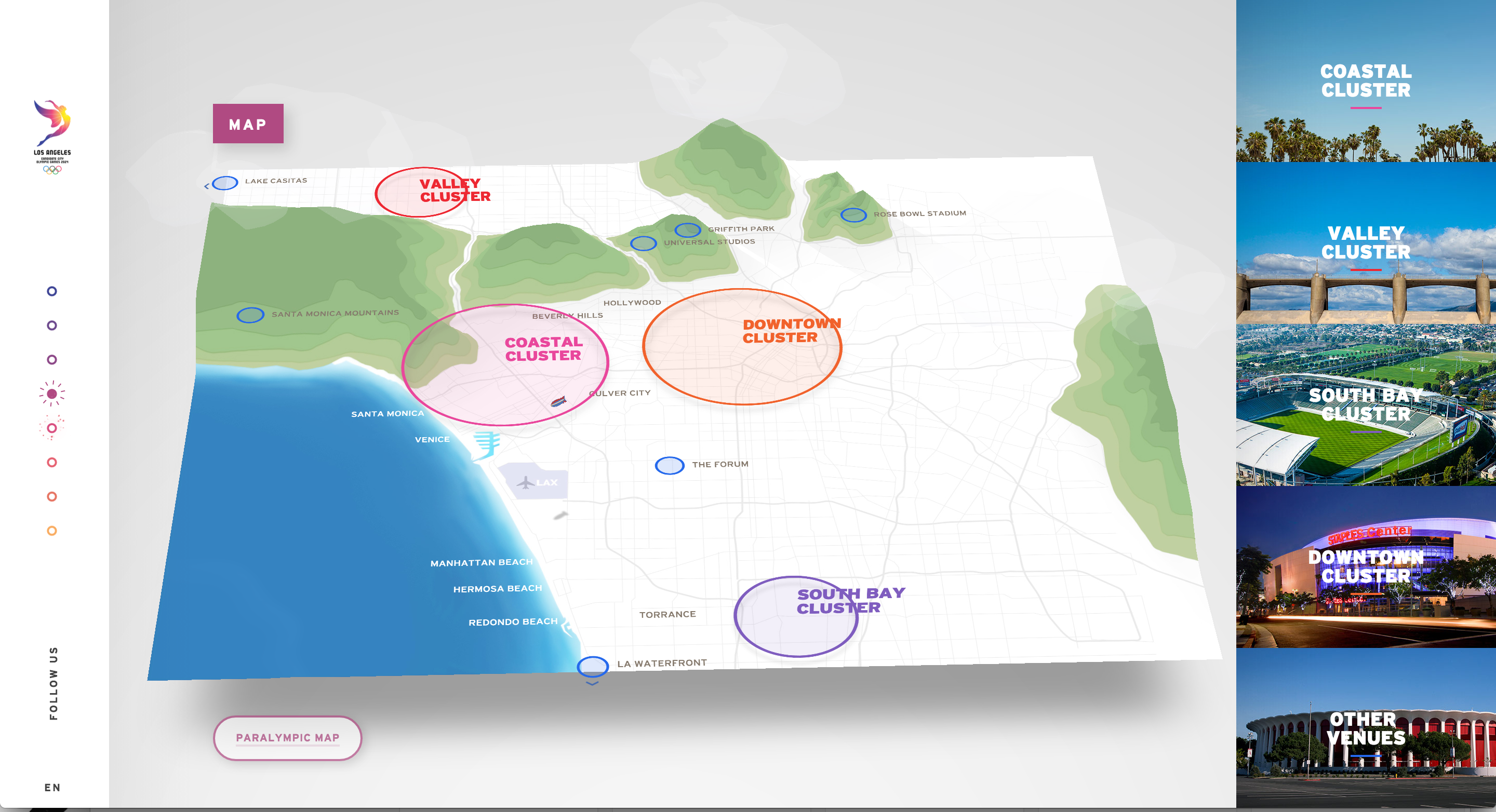 Los Angeles  Olympic Bid Great Map Navigation Website - Los angeles navigation map