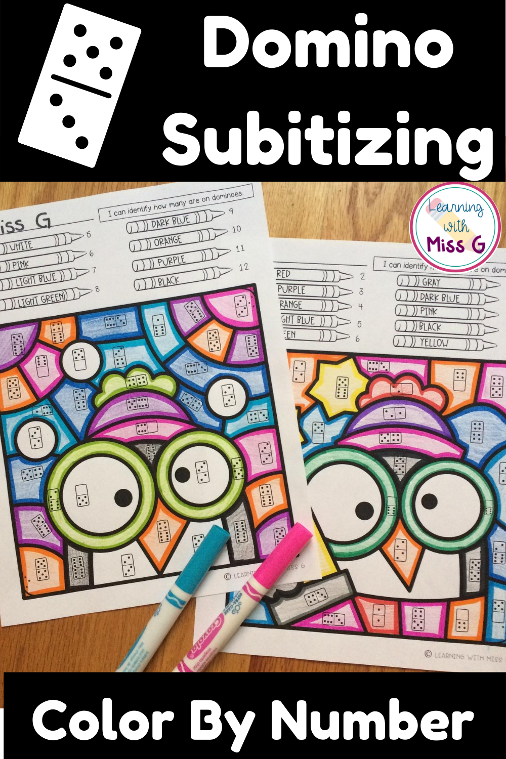 Domino Subitizing Color By Number Worksheets Subitizing Subitizing Activities Math Center Games [ 1500 x 1000 Pixel ]