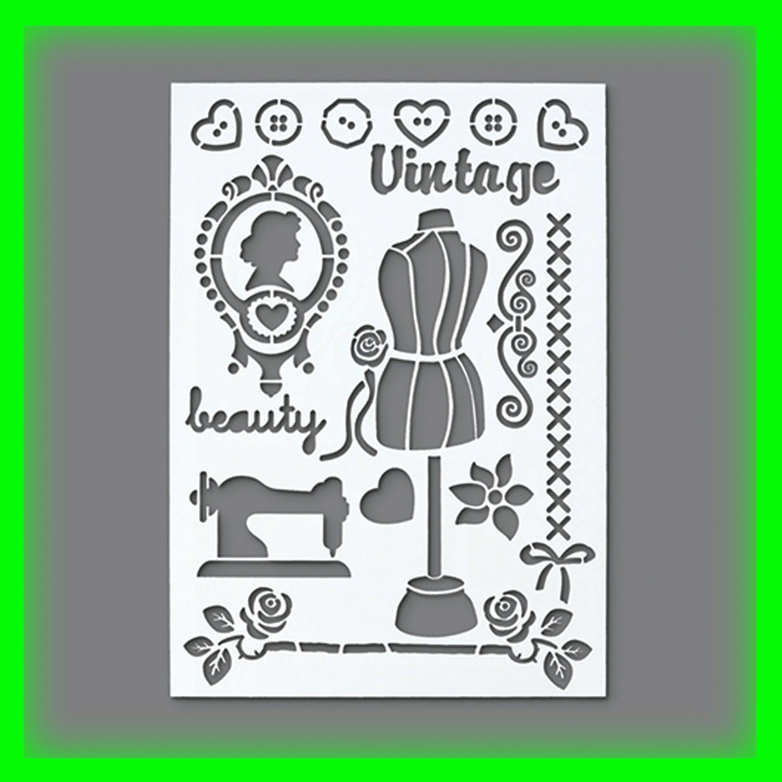 stencil flex schablone vintage din a4 17 teilig scrapbooking for sale eur 5 99. Black Bedroom Furniture Sets. Home Design Ideas