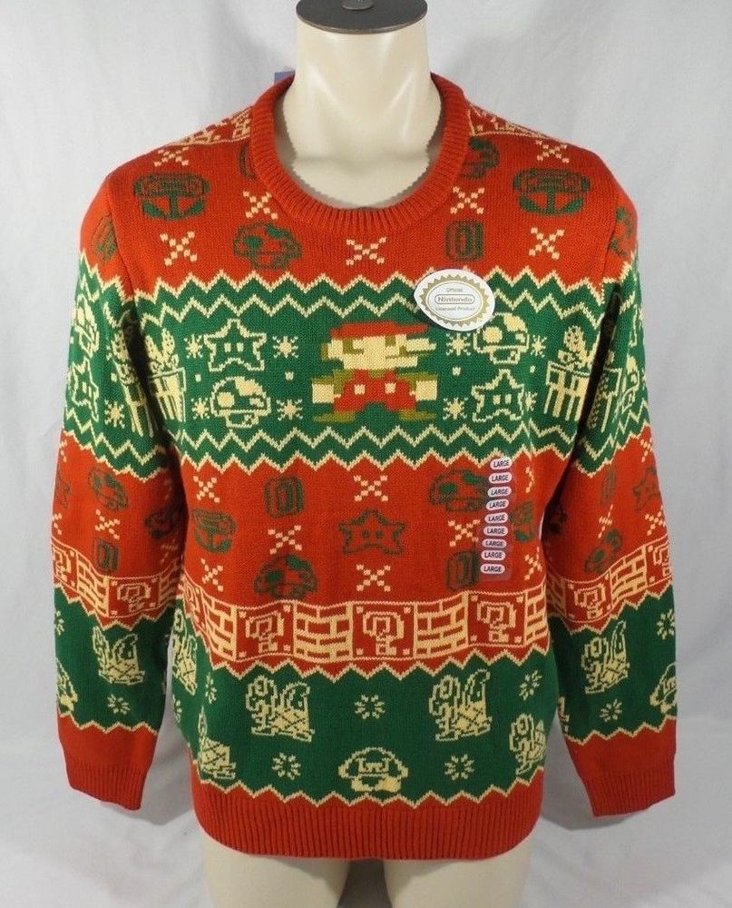 Details About Super Mario Bros Holiday Knitted Sweater Think Geek