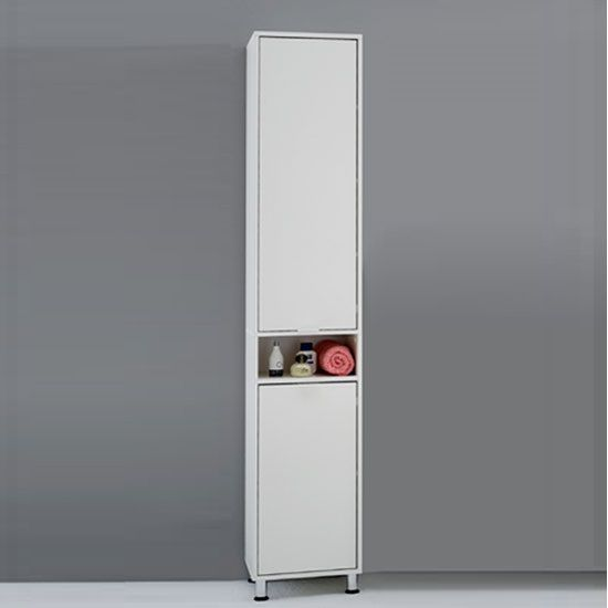 Tall Bathroom Cupboard In White Finish With 2 Door 20016 Huge Range Of Cabinets Free Uk Delivery From Furniture Fashion