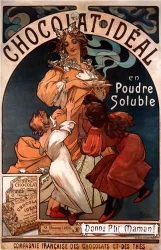 Chocolat Ideal Alphonse Mucha Art Nouveau Poster Alphonse