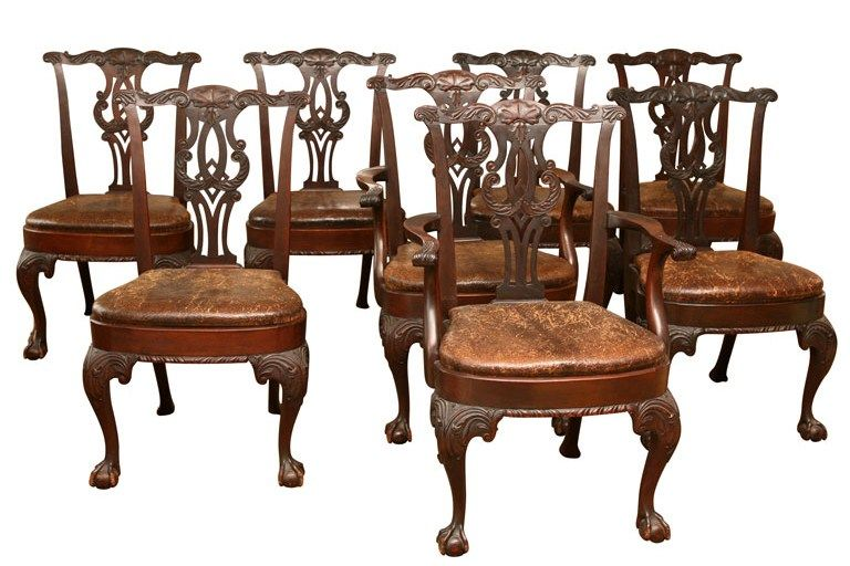 8 Antique Chippendale Dining Chairs, from Paul Kleinwald Art & Antiques.  These are genuinely early copies of mid 18th century chairs and are  superior in ... - 8 Antique Chippendale Dining Chairs, From Paul Kleinwald Art
