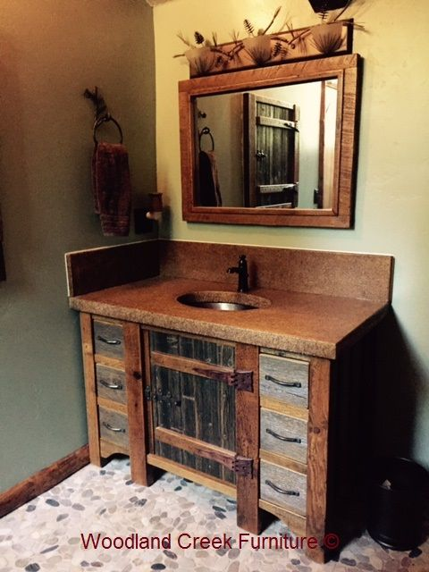 Reclaimed Antique Wood Vanity Available in Custom Made Sizes & Layouts - Antique Wooden Bath Cabinetry Home Ideas Pinterest Wood Vanity