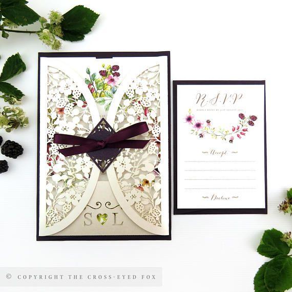 Rustic Country Garden Wedding Invitation Blackberry