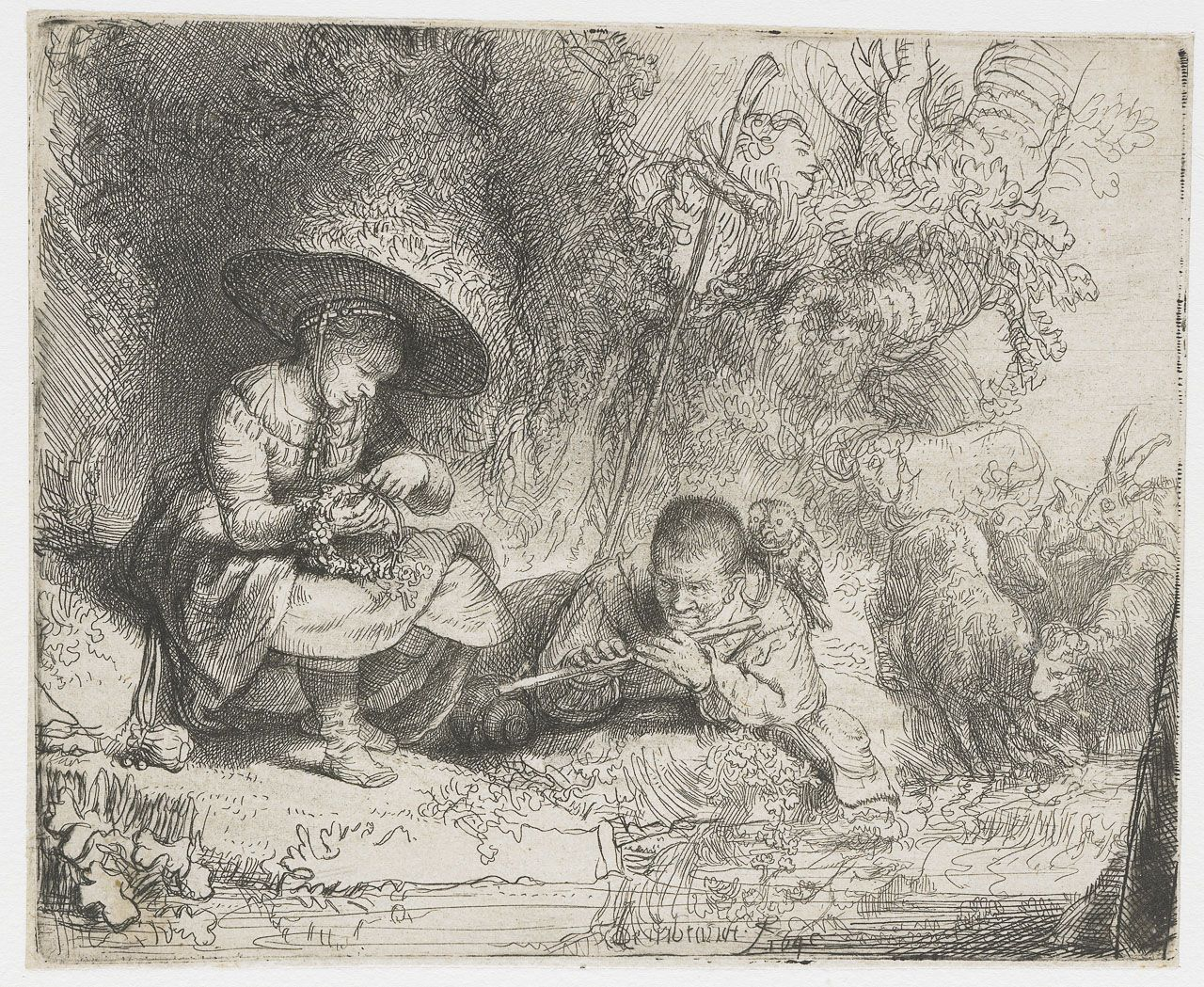 17 Best Images About Art Dutch Golden Age Painting 1615: Rembrandt - The Flute Player. 1642