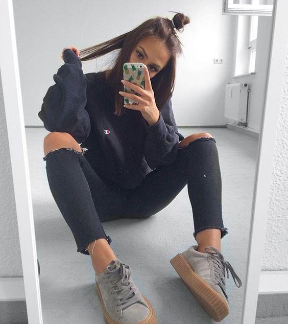 0e6de28e8010 Image result for champion black sweatshirt outfit