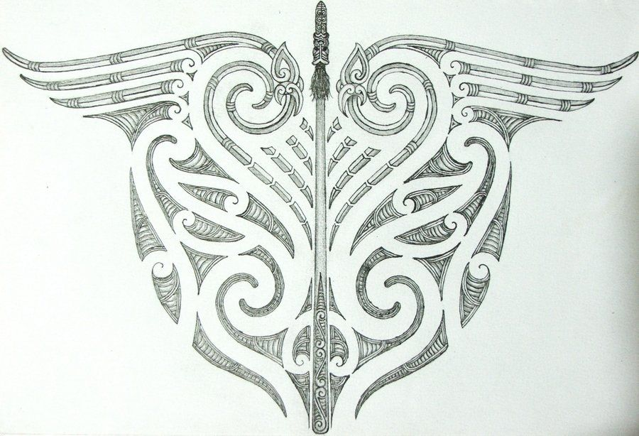 Maori Lower Back Tattoo: Maori Tribal And Taiaha Back