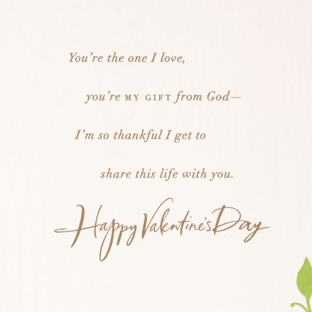 heart on green leaves valentine's day card for husband in