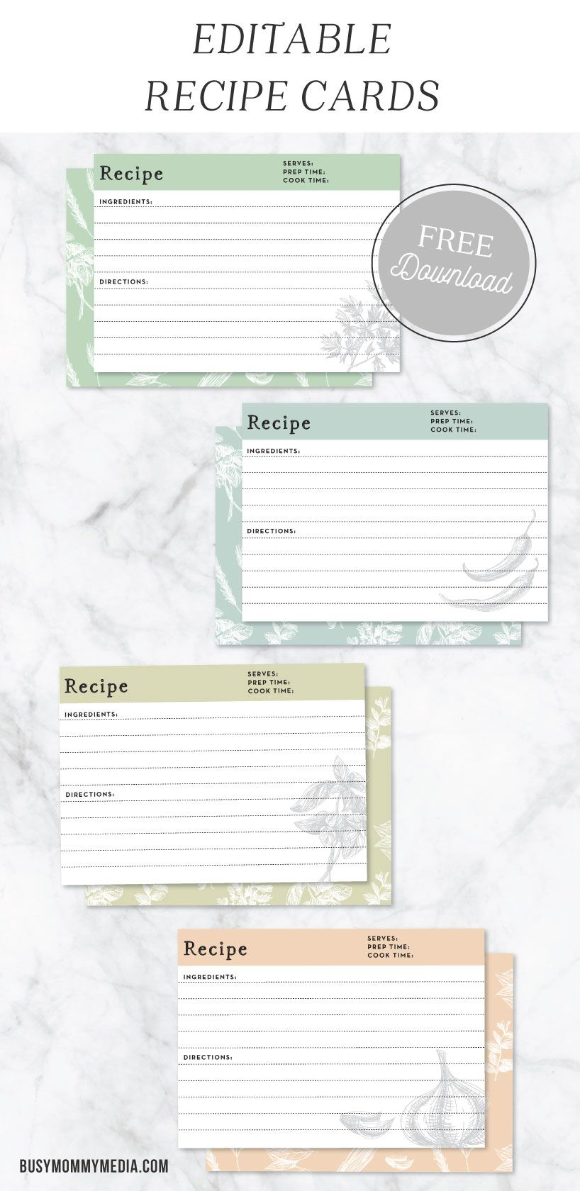 It is a graphic of Wild Cute Recipe Cards