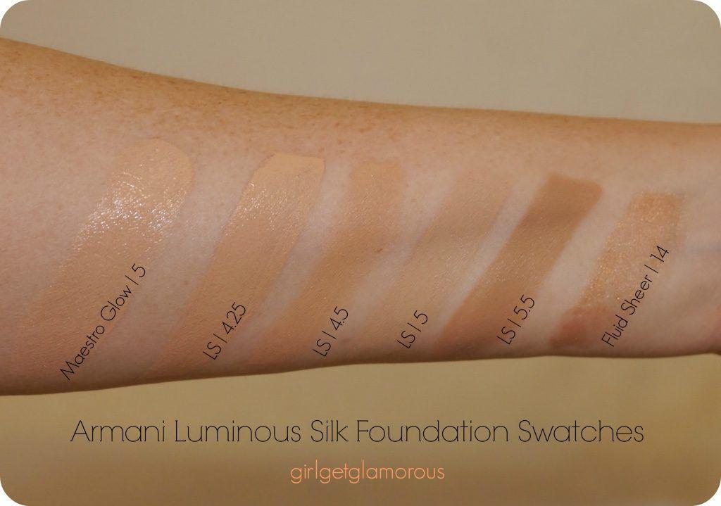 Armani Luminous Silk Foundation Swatches 4 25 4 5 5 5 5 Foundation Swatches Giorgio Armani Luminous Silk Luminous Silk Foundation