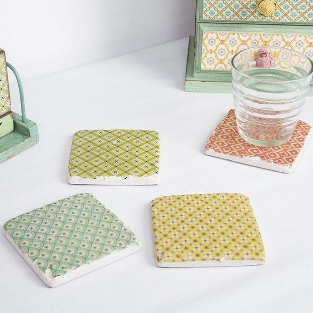 Set Of 4 Modern Morocco Tile Coasters
