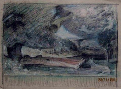 Schad-Rossa, Mythologische Szene mit Liebespaar und Hund, Kohle und farbige Kreiden, 23,6 x 31,7 cm, Privatbesitz