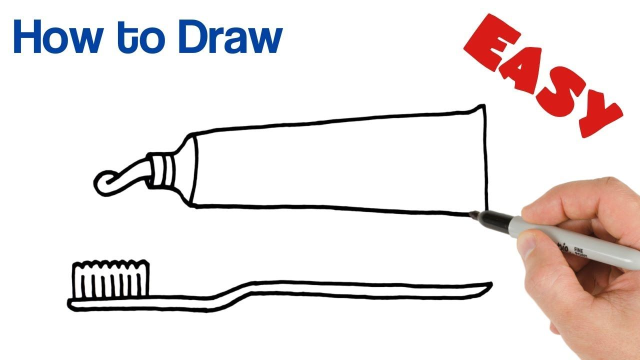 How To Draw Toothpaste And Toothbrush Easy Art Tutorial Brushing