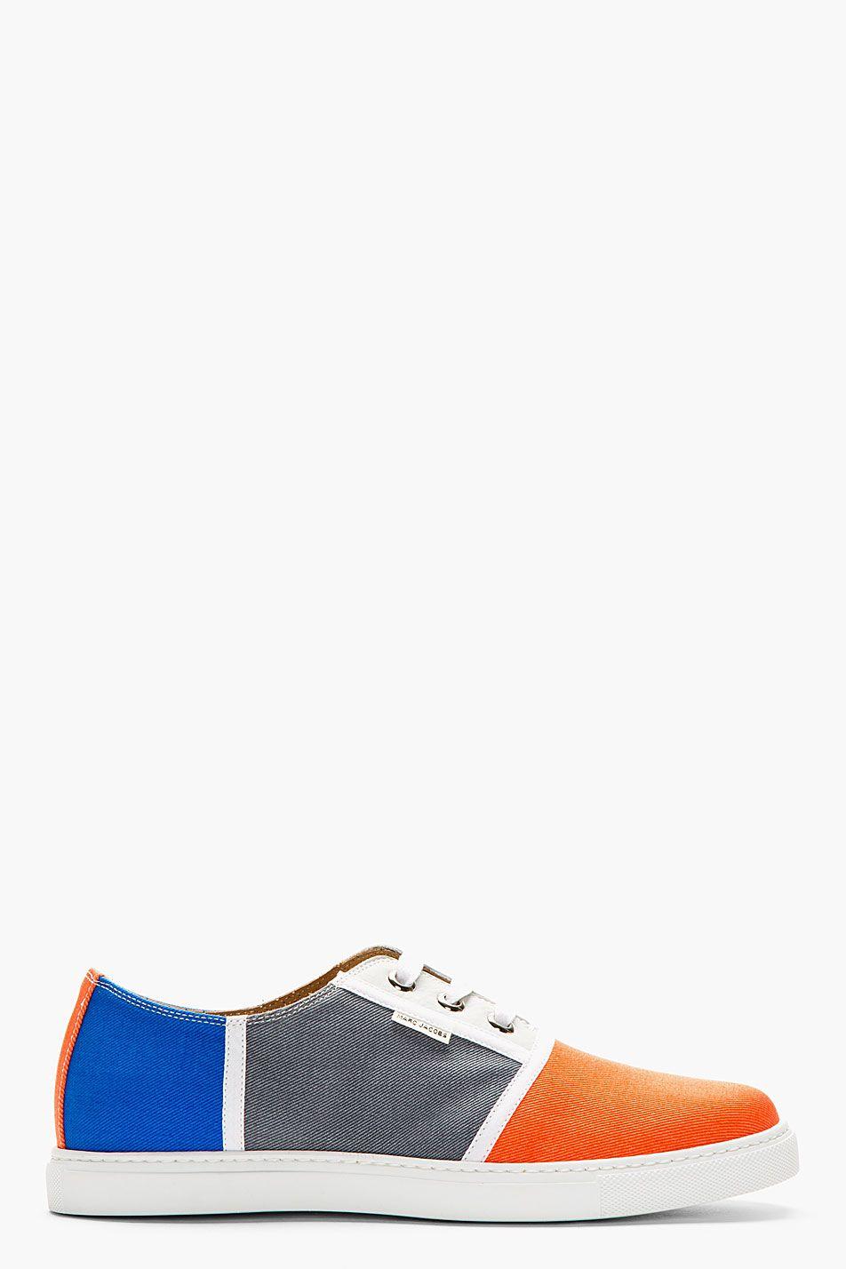 MARC JACOBS Blue & Orange Colorblocked Sneakers