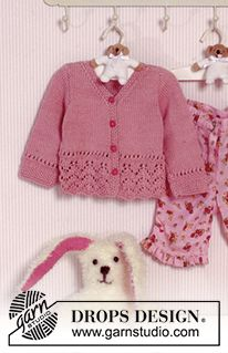 Free Patterns Using Drops Muskat By Drops Design Baby Girl Knitting Patterns Baby Cardigan Knitting Pattern Baby Cardigan Knitting Pattern Free