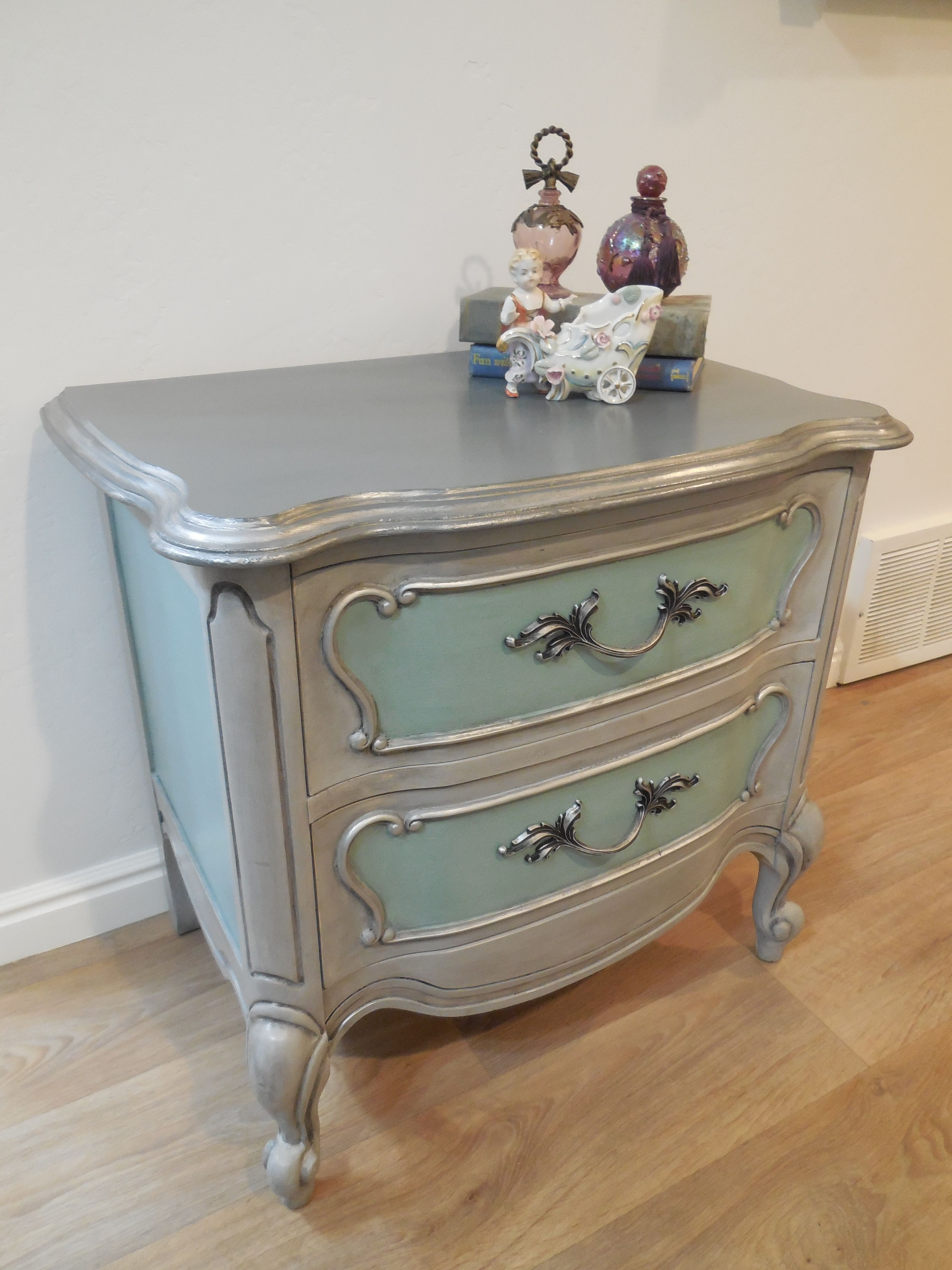 French Provincial bedside stand painted with Annie Sloan Paris gray
