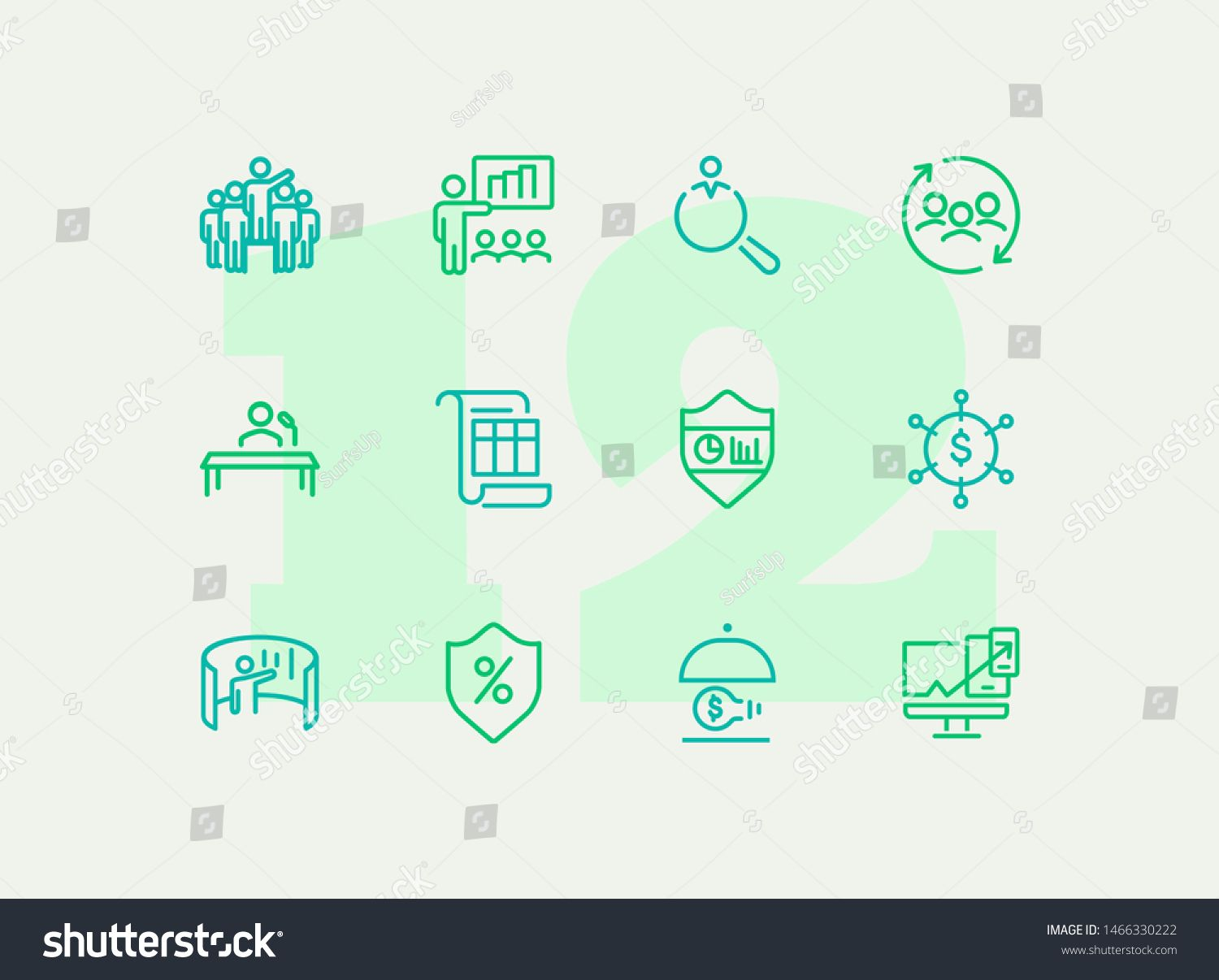 Insurance line icon set Leadership presentation shield Business concept Can be used for topics like finance management consulting expertise