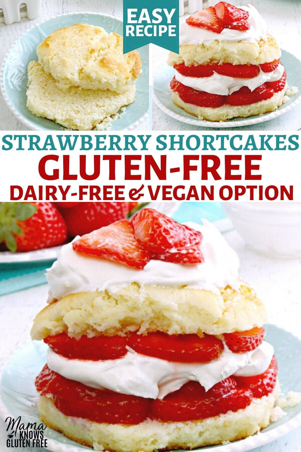 An easy recipe for Gluten-Free Strawberry Shortcake. Fluffy and flaky sweet biscuits topped with strawberries and whipped cream. This gluten-free dessert recipe also has a dairy-free and vegan option. #glutenfreerecipes #dairyfree #vegan