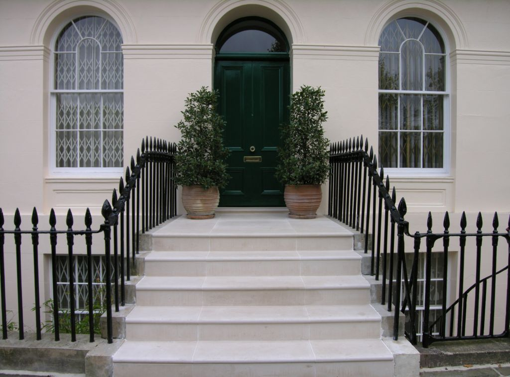 Portland Limestone Entrance steps and paving in London Chester terrace London