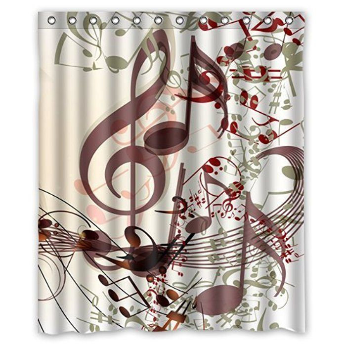 Personalized Lovely Melody Music Note Machine Washable Super Soft Shower Curtain 60w