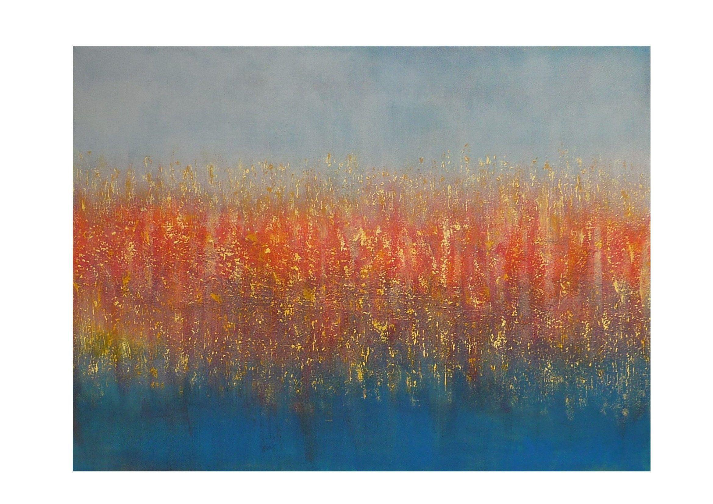 tableau abstrait original gris orange