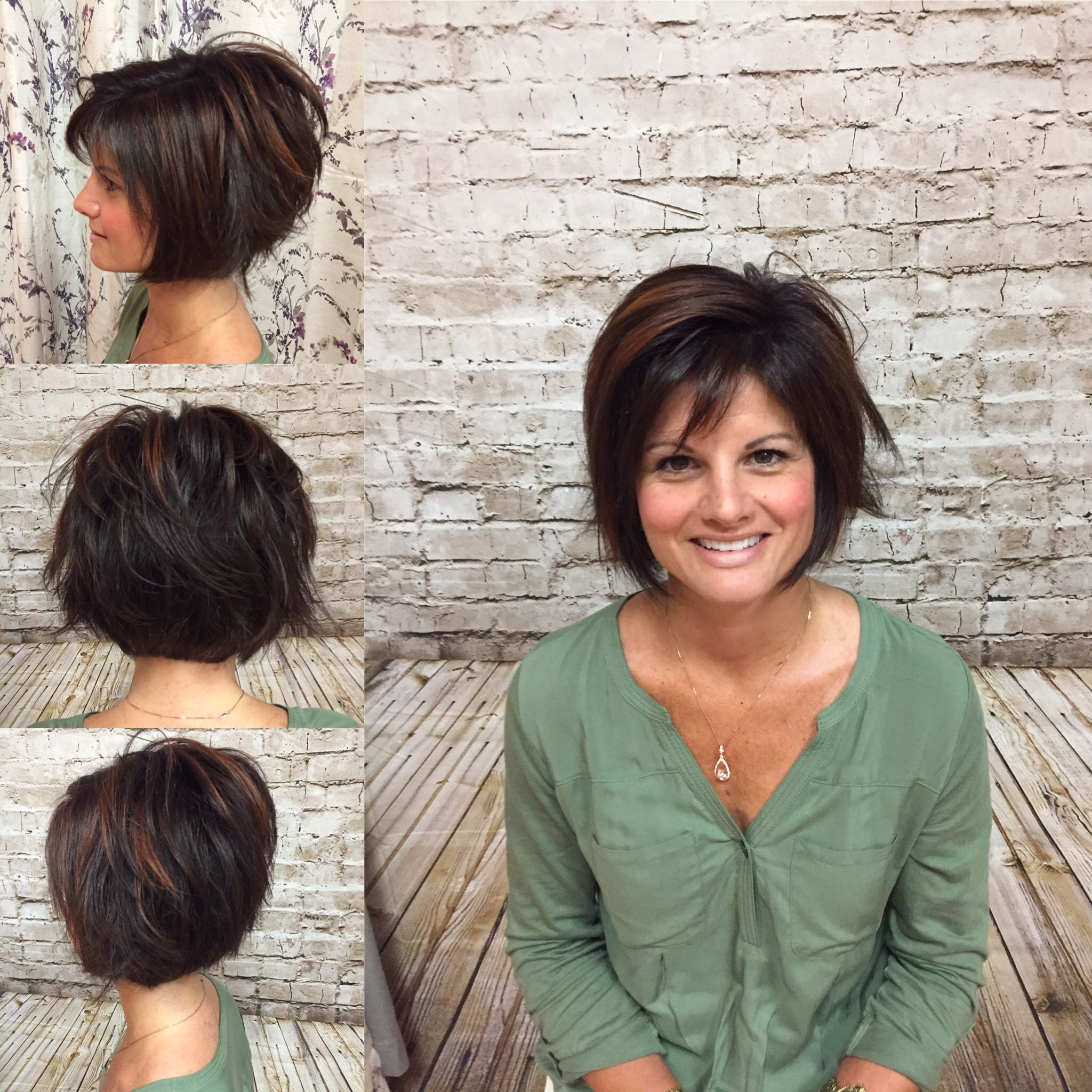 Bronze high light on dark brown hair done by heather j short