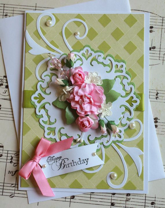 beautiful floral birthday card with 3d paper roses