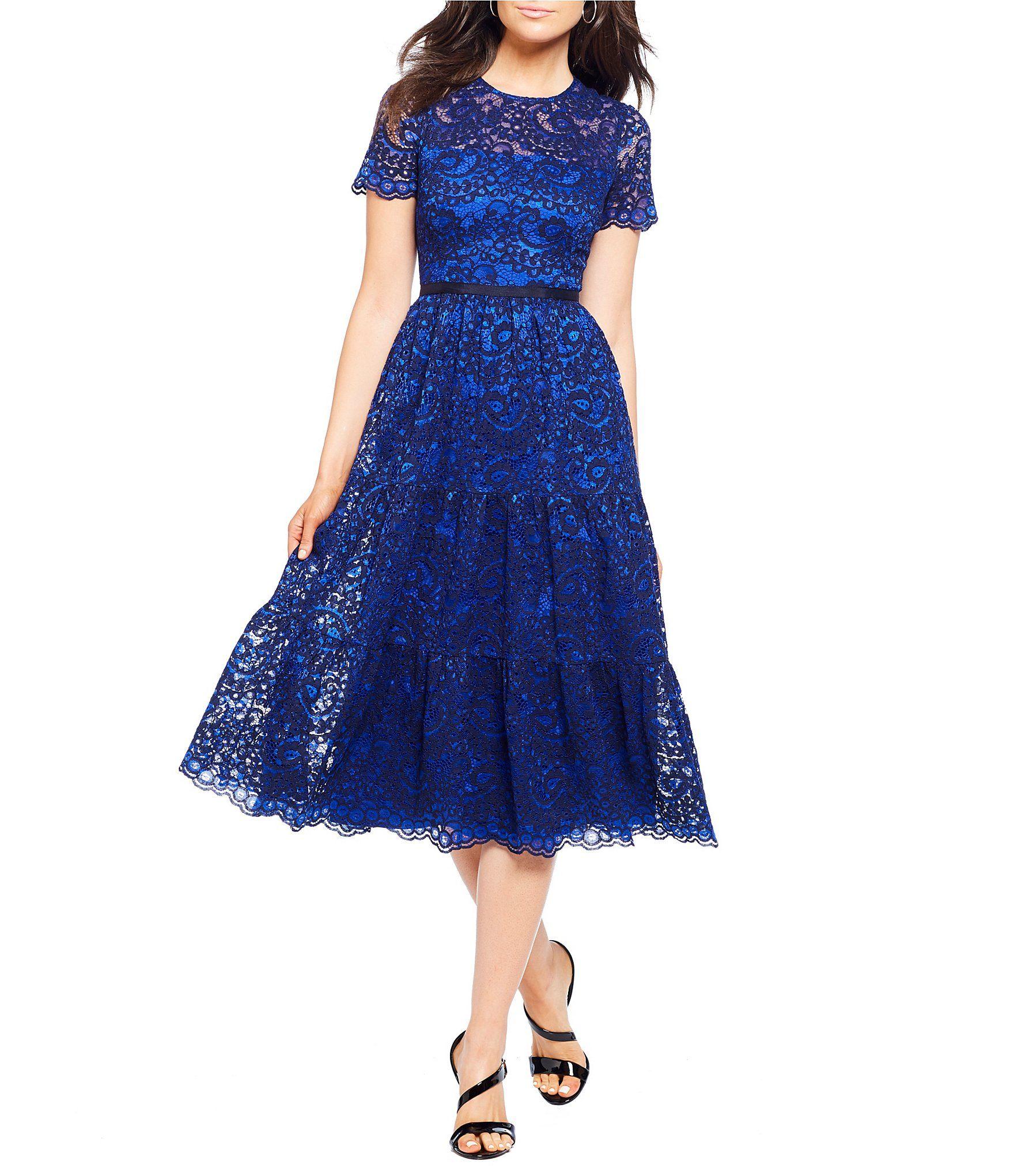 a9da7429e2 Maggy London Tiered Lace Midi Dress  Dillards
