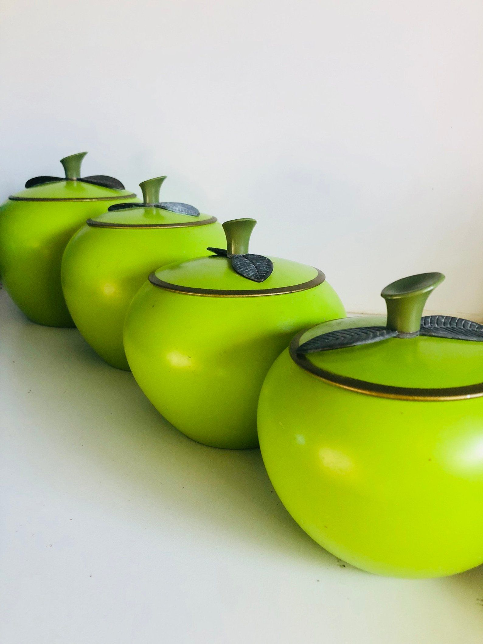 Mid-century Green Apple Canister Set