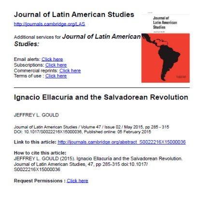 Ignacio Ellacuría and the Salvadorean Revolution / Jeffrey L. Gould. (En: Journal of Latin American Studies / -- Vol. 47, Issue 02 (May. 2015))