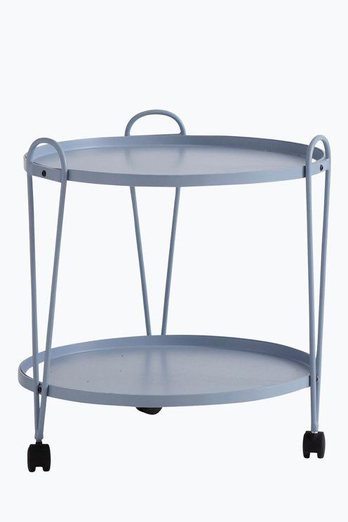Runt bord på hjul med två plan Av metall Höjd 55 cm u00d8 51 cm Lev omonterad Bilder Bord