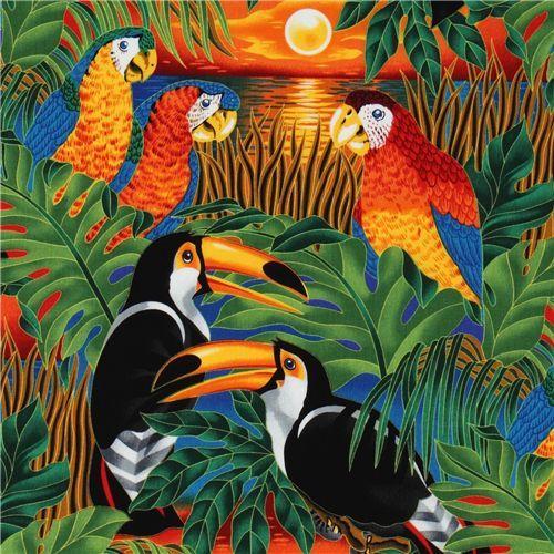 colourful tropical birds fabric parrot Robert Kaufman 1