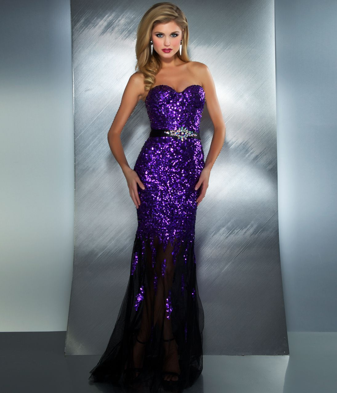 Mac Duggal Prom 2013 - Purple Strapless Sequin Dress With ...