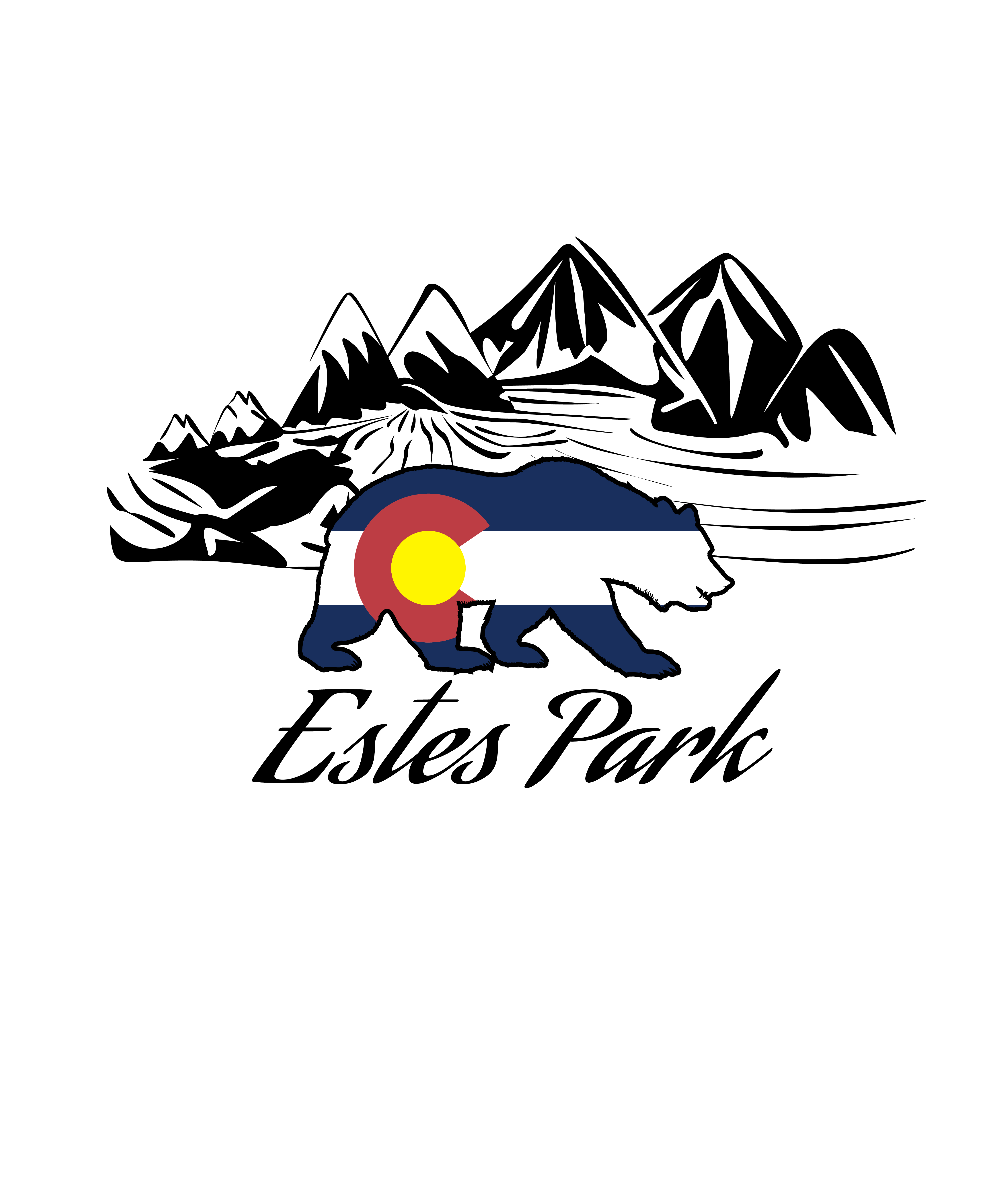 This is an estes park colorado design i made with a bear with the colorado flag on it and mountains