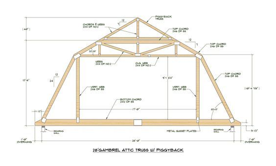 Pole Barn Gambrel Truss With A Gambrel Roof Is Compelling Versus The Standard 12 12 Pitch Roof Truss Design Attic Truss Gambrel Roof Trusses