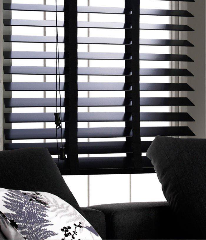 Jack S Room Industrial Loft Style Black Wood 2 Slat Blinds W