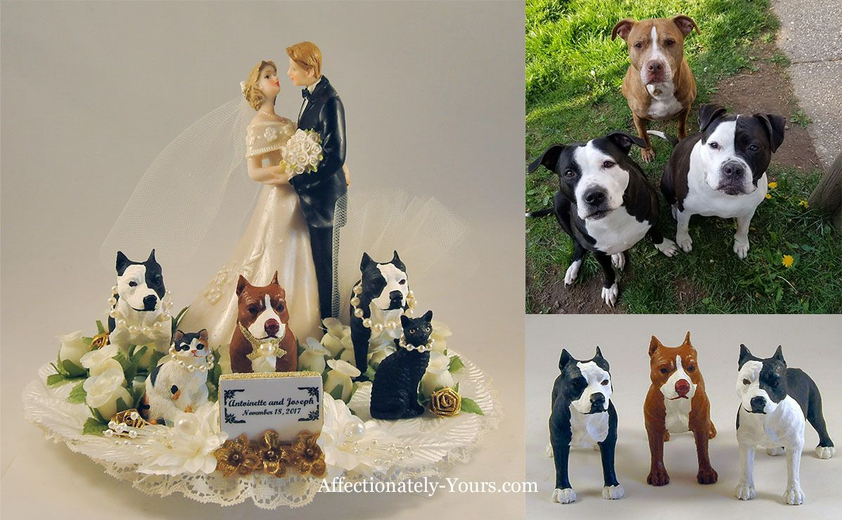 Bride Grooom Dogs Cats Custom Wedding Cake Topper Dog Cake