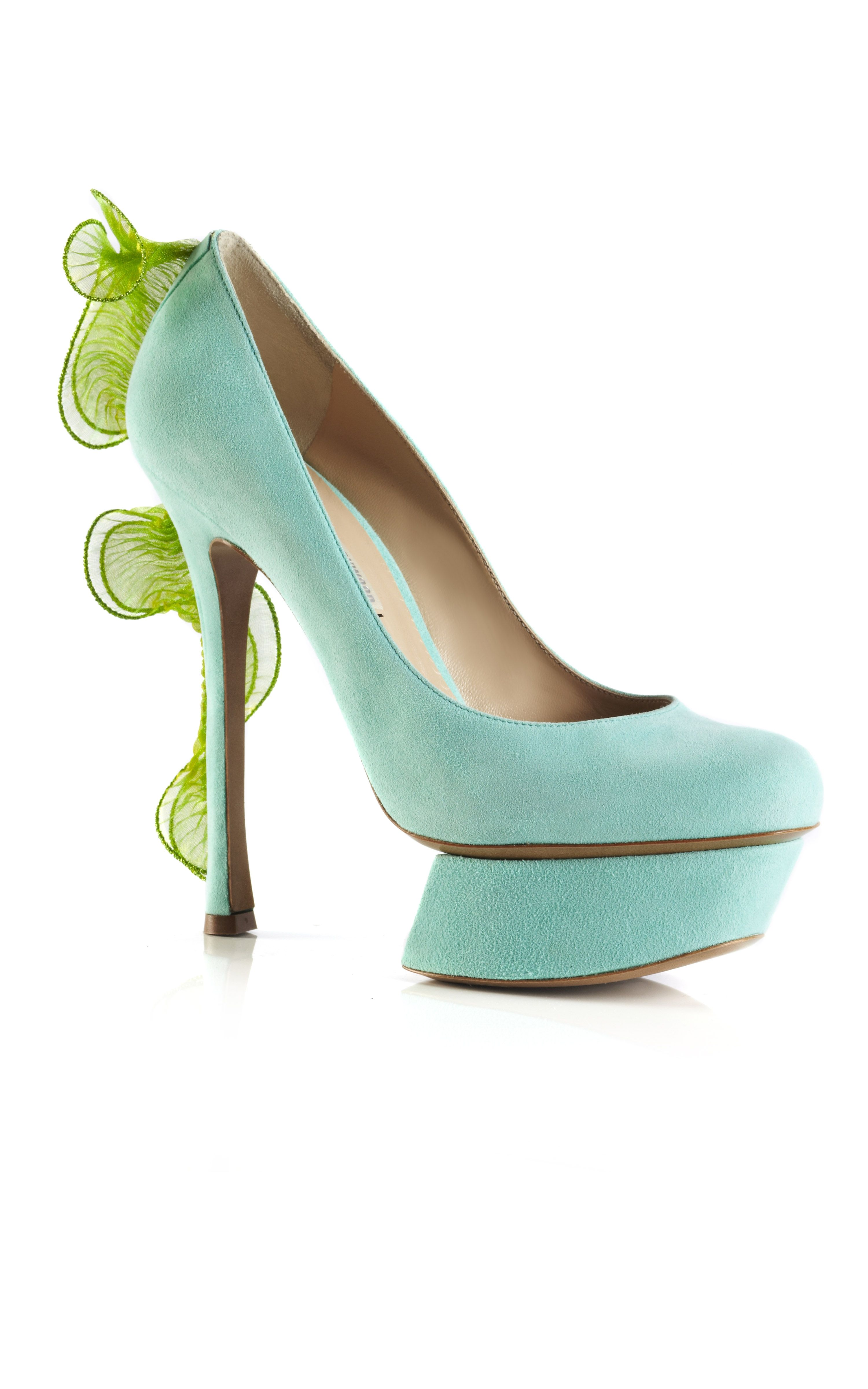 fabbd498d43 Shop Nicholas Kirkwood Aqua and Green Frill Platform Pump at Moda Operandi Suede  Platform Pumps,