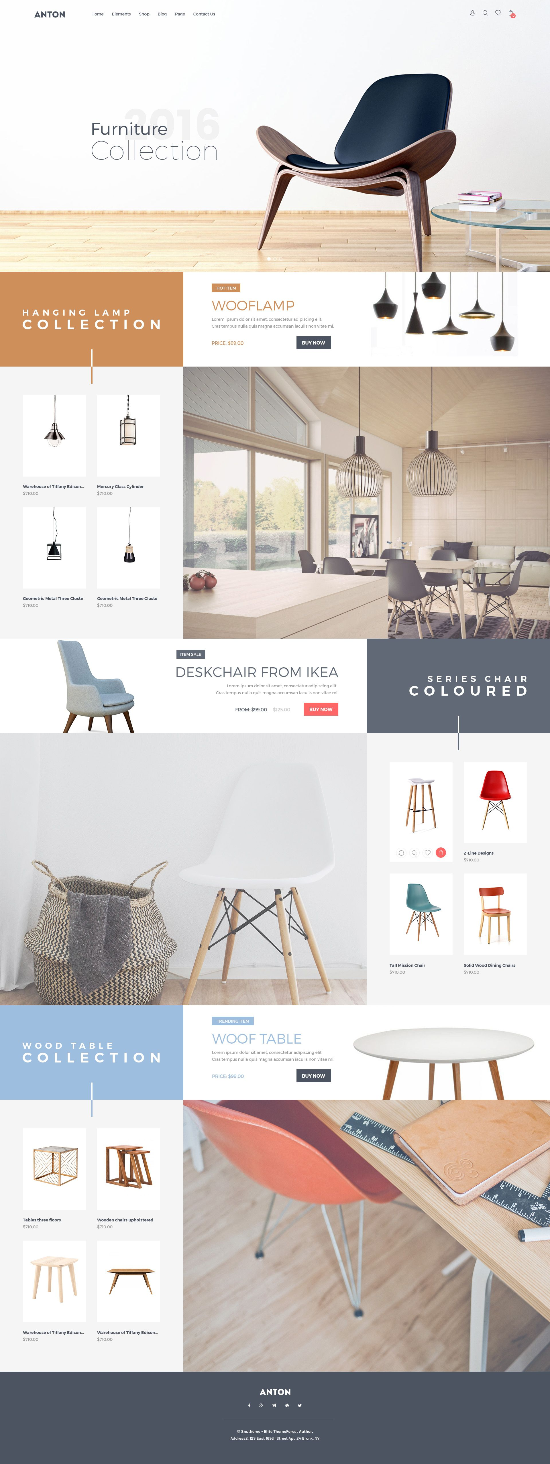 Anton Ecommerce Furniture PSD Template | eCommerce, Template and Website