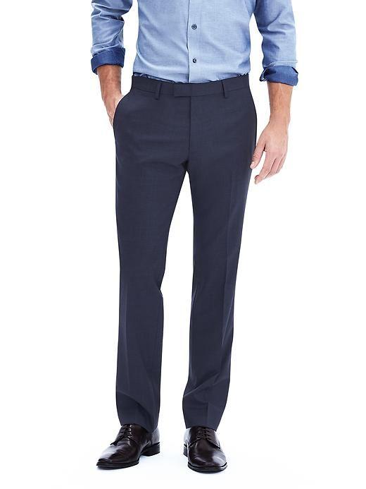 Modern Slim Textured Navy Wool Suit Trouser