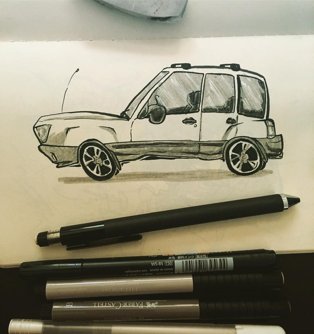 So I Decided To Sketch My Subaru Forester As A Cartoon Car
