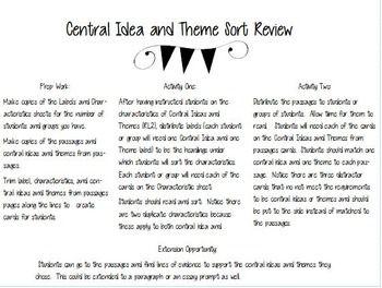 Central Idea And Theme Sort By Standards With Style Teachers Pay Teachers Central Idea Language Arts Classroom English Language Arts Classroom