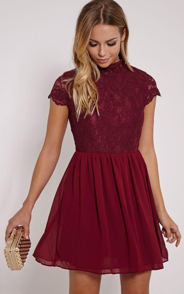 f269c68807 Ella Burgundy High Neck Lace Skater Dress