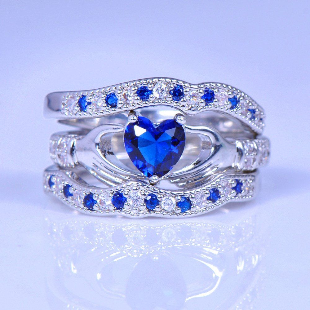 Exquisite Blue Diamond Claddagh Ring Set Claddagh Ring Wedding Celtic Wedding Rings Wedding Rings For Women