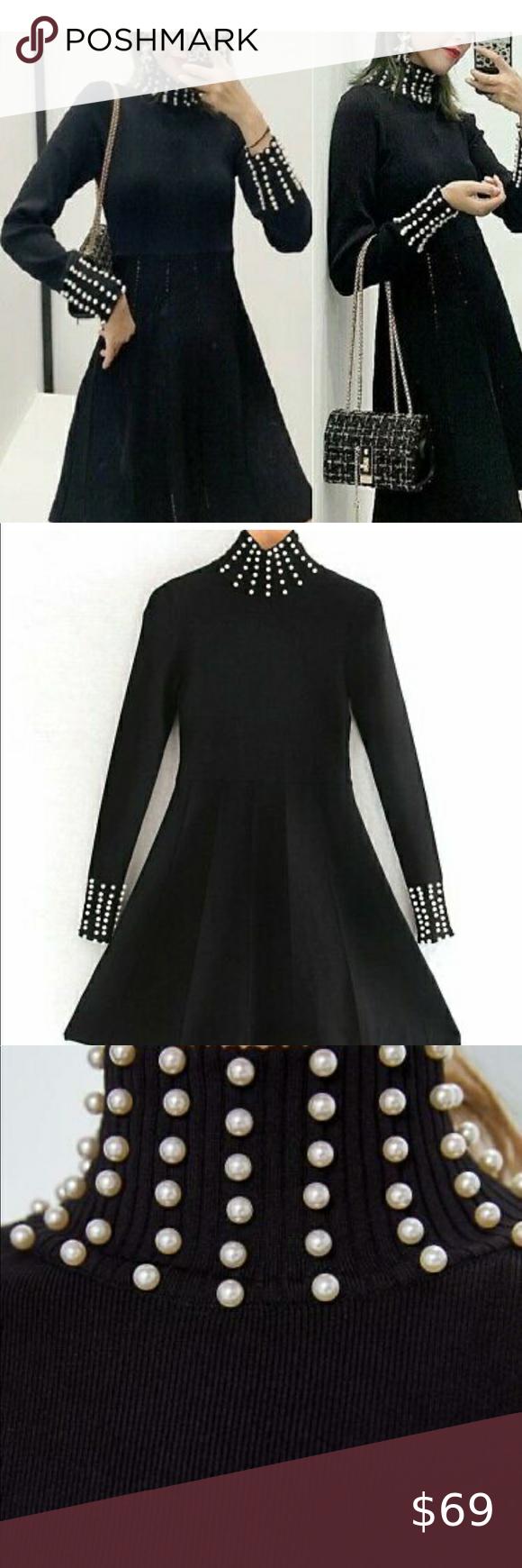 Zara Knit Pearl Dress Pearl Dress Dresses Zara [ 1740 x 580 Pixel ]