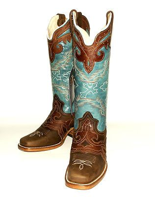 d5ec876b4506 Women s Reyme 39285 Crazy Thing Brown Baby Blue Western Square Toe Western  Boot